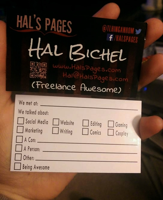 "Showing front and back of my business card. Front reads ""freelance awesome""; back has list of checkboxes & blanks to fill out"