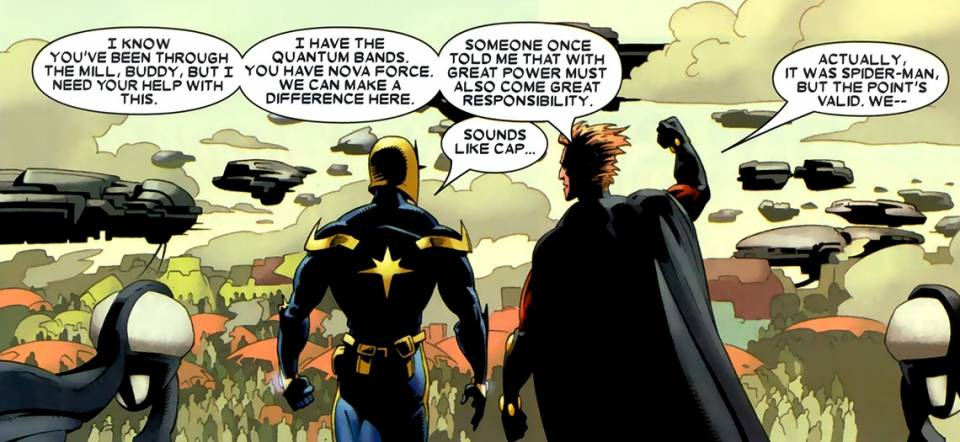 Nova Corps members talk about Spider-Man's mantra in Annihilation: Nova #3