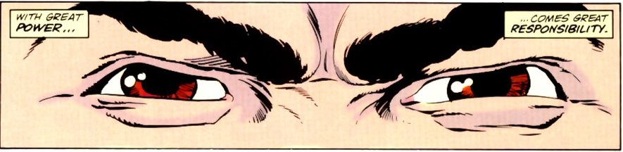 "Close-up on Peter Parker's eyes, with captions explaining"" with great power comes great responsibility"" from Spider-Man vs. Wolverine #1"
